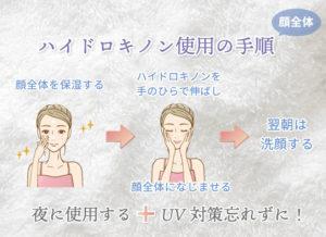 【顔全体】ハイドロキノン使用の手順① 顔全体を保湿する②ハイドロキノンを手のひらで伸ばし 顔全体になじませる③翌朝は洗顔する 加えて、夜に使用する事とUV対策忘れずに!