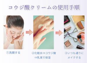 コウジ酸クリームの使用手順 ①洗顔する ②化粧水⇒コウジ酸⇒乳液で保湿 ③いつも通りにメイクする
