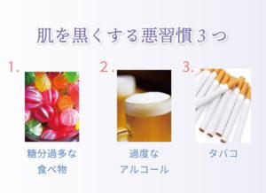 肌を黒くする悪習慣3つ 1.糖分過多な食べ物 2.過度なアルコール 3.タバコ