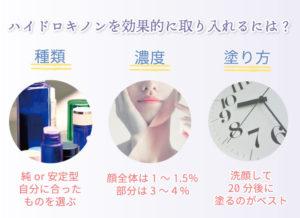 効果的に取り入れるには?自分に合ったものを選ぶ、顔全体は1~1.5% 部分は3~4% 、洗顔して20分後に塗るのがベスト