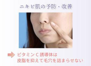 ニキビ肌の予防・改善 ビタミンC誘導体は皮脂を抑えて毛穴を詰まらせない