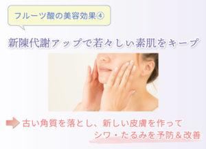 フルーツ酸の美容効果④ 新陳代謝アップで若々しい素肌をキープ 古い角質を落とし、新しい皮膚を作ってシワ・たるみを予防&改善