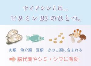 ナイアシンとは…ビタミンB3のひとつ。 肉類 魚介類 豆類 きのこ類に含まれる 脳代謝やシミ・シワに有効