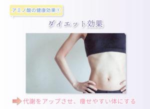 アミノ酸の健康効果① ダイエット効果 代謝をアップさせ、痩せやすい体にする