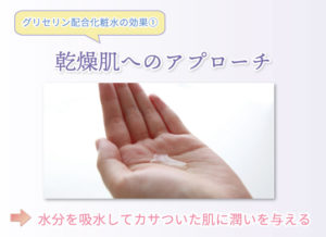 グリセリン配合化粧水の効果① 乾燥肌へのアプローチ 水分を吸水してカサついた肌に潤いを与える