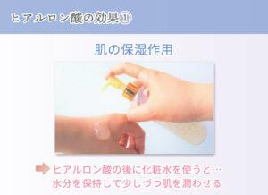 ヒアルロン酸の効果① 肌の保湿作用 ヒアルロン酸の後に化粧水を使うと… 水分を保持して少しづつ肌を潤わせる