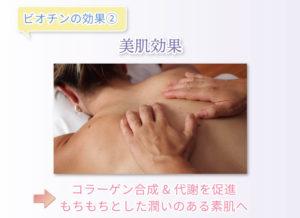 ビオチンの効果② 美肌効果  コラーゲン合成&代謝を促進 もちもちとした潤いのある素肌へ