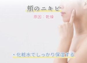 頬のニキビ 原因:乾燥 ・化粧水でしっかり保湿する