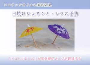 ココナッツオイルの美容効果 日焼けによるシミ・シワの予防 「トコトリエール」が紫外線ダメージを軽減する