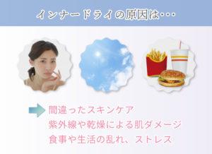 インナードライの原因は… 間違ったスキンケア 紫外線や乾燥による肌ダメージ 食事や生活の乱れ、ストレス