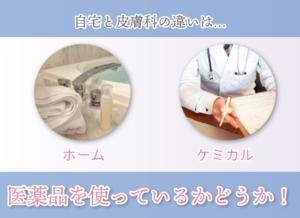 自宅と皮膚科の違いは… ホーム ケミカル 医薬品を使っているかどうか!