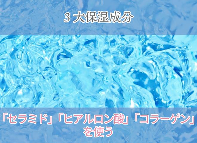 三大保湿性分 セラミド・ヒアルロン酸・コラーゲンを使う