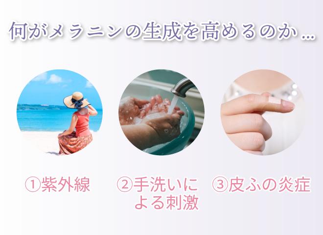 何がメラニンの生成を高めるのか... ①紫外線 ②手洗いによる刺激 ③皮ふの炎症